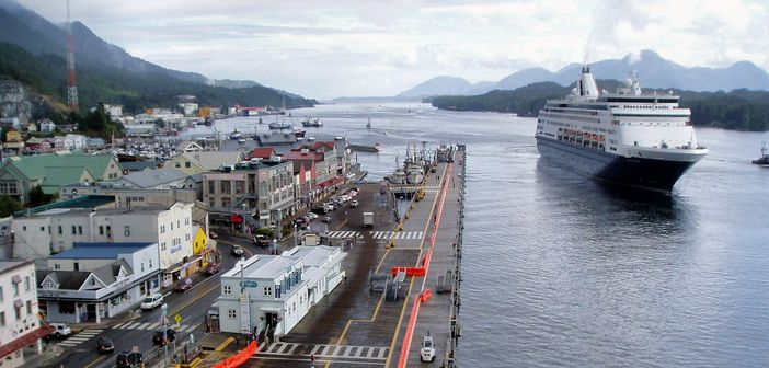 Alaska cruise: Holland America cruise ship arriving in Ketchikan