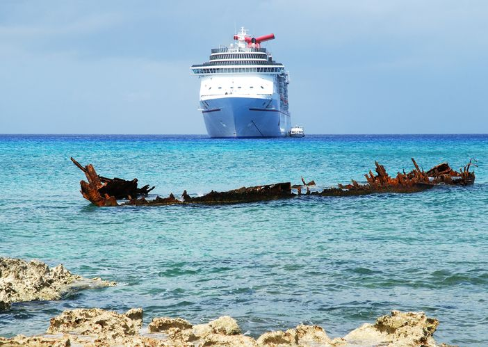 Carnival Magic anchored in the Caribbean