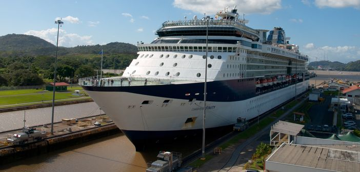Celebrity ship passing through the Panama Canal