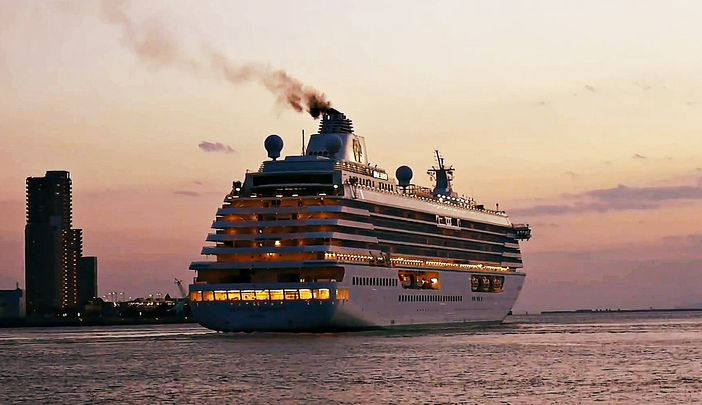 Crystal Serenity leaving Japanese port, Osaka