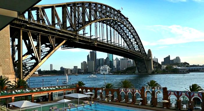 Harbour Bridge, cityscape and cruise ship