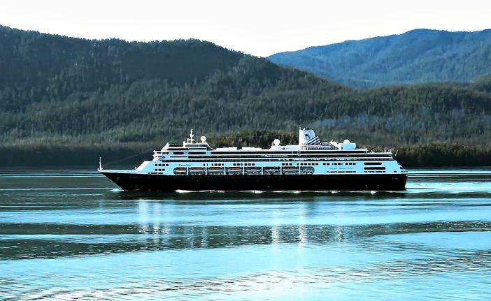 Holland America Line ship cruising in Alaska's Inside Passage