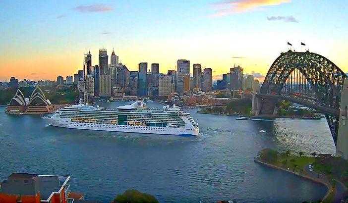 The Radiance of the Seas sailing out from the harbour of Sydney