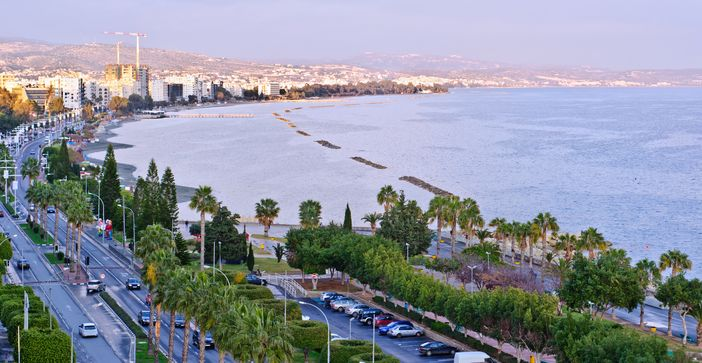 Aerial view of the coastline and beach in Limassol, Cyprus