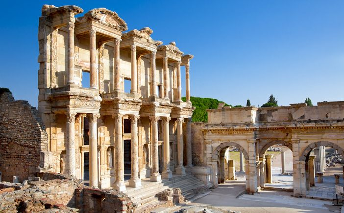 Famous historical monuments in Europe : Celsus Library, Ephesus, Turkey