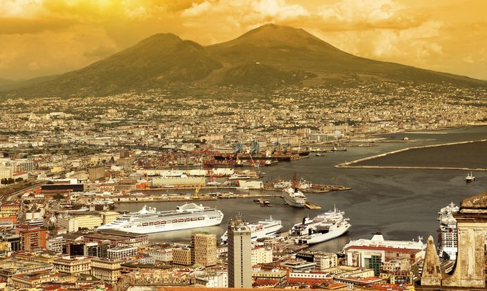 Cruise the Mediterranean: Naples bay and Mount Vesuvius in the background