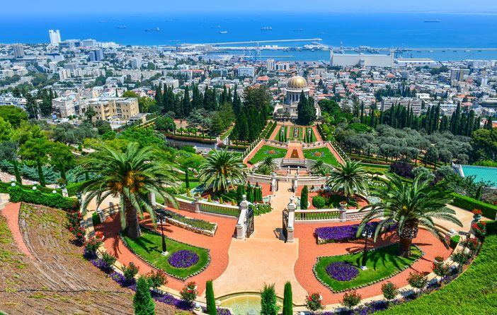 famous historical monuments in Europe: Baha'i Gardens, Haifa, Israel