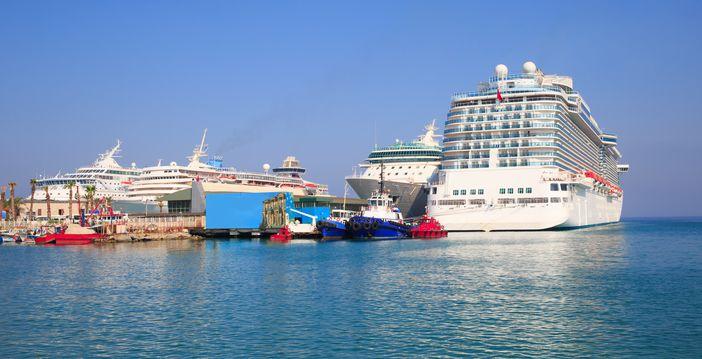 Huge cruise ships docked in Kusadasi, the port of Ephesus