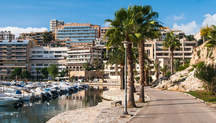 European Cruises from Barcelona: View of small yacht in Palma de Mallorca's harbor.