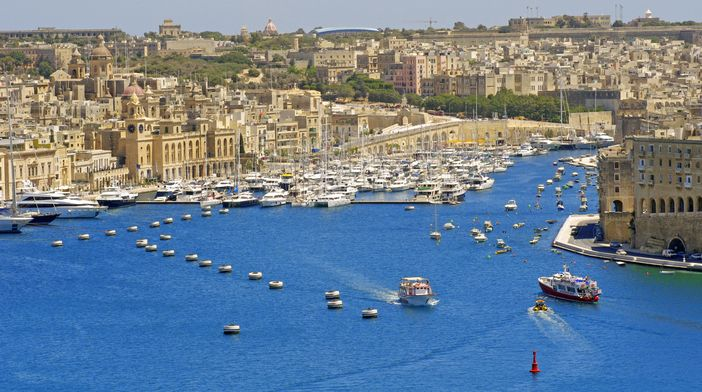 Mediterranean destinations: stunning view of the historic harbor in Valletta