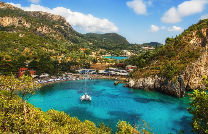 Scenic view of the Bay of Paleokastritsa at Corfu, Greece