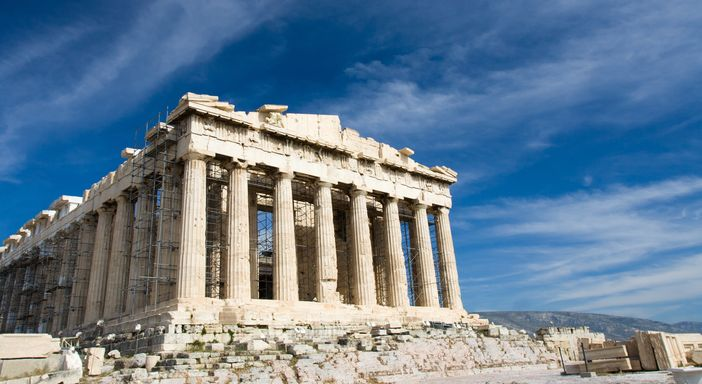 Top Attractions in Athens. Facade of ancient temple Parthenon in Acropolis