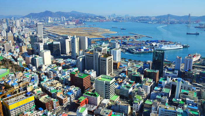 Top 10 Far East destinations: Busan, Republic of Korea. View of the downtown and port.