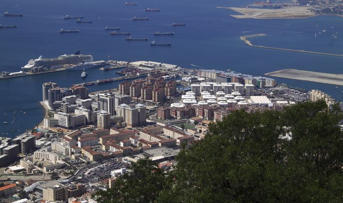 View over the British territory port, Gibraltar from the top of the Rock of Gibraltar