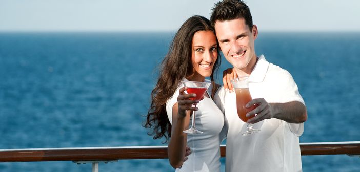 Couple enjoying their honeymoon on a cruise ship