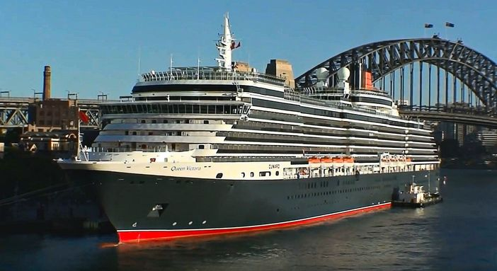 Cunard ship docked in Sydney, Australia
