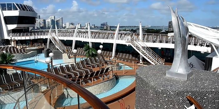 The pool deck onboard the MSC Divina cruise ship