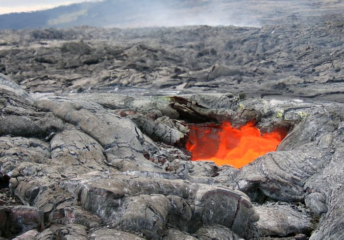 Hot magma flow on the Big Island of Hawaii