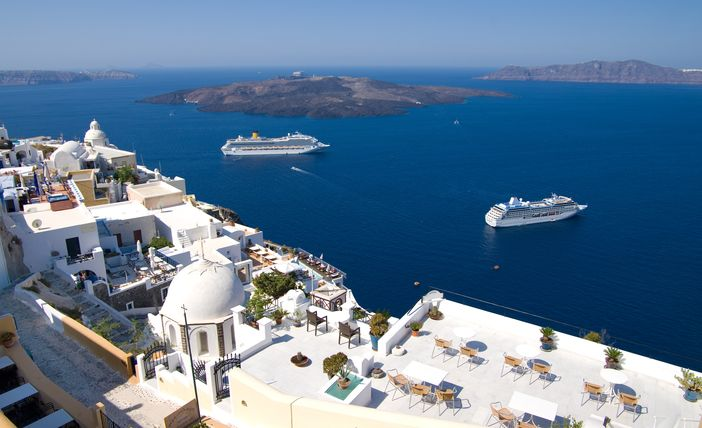 Cruise ships moored at Santorini