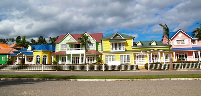 Wooden houses with high colors in Samana Bay, Dominican Republic