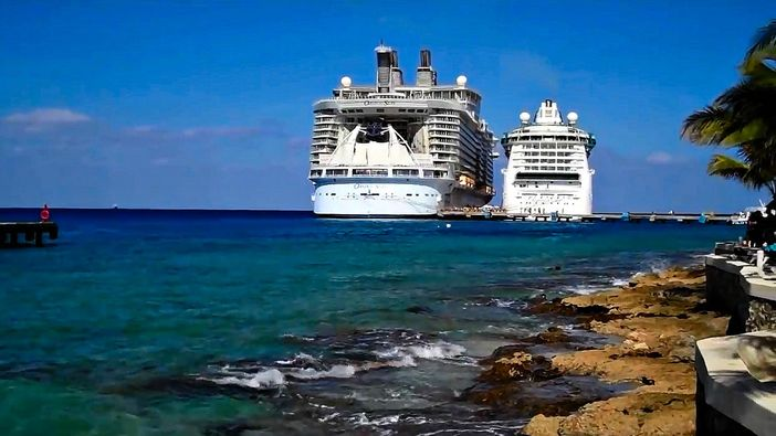 Ocean liners docked next to each other at Cozumel