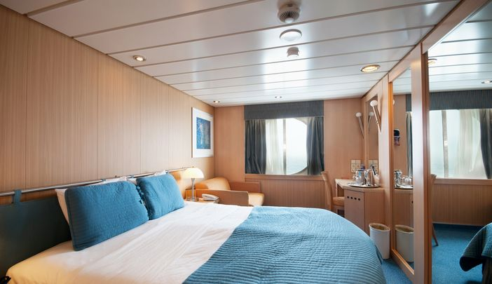 Splendid interior of a cruise ship cabin