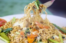Traditional Thai fried noodles with vegetables