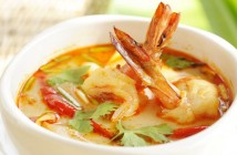 Hot and spicy Tom Yum Goong soup with shrimps