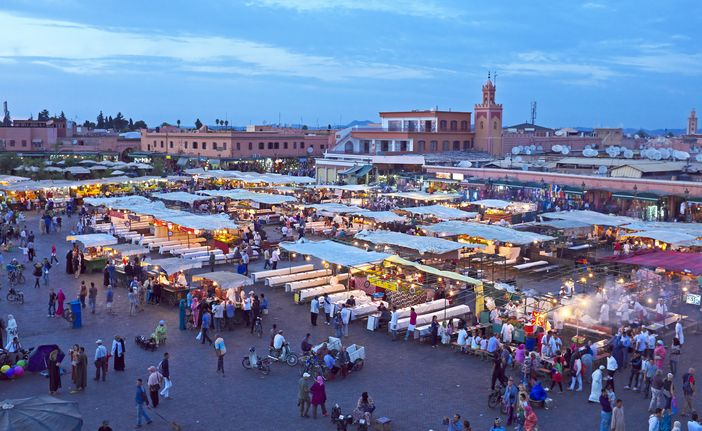 The famous the Djemaa el-Fna market in Marrakesh, Morocco