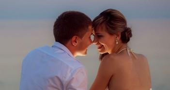 Young couple on a Caribbean honeymoon cruise