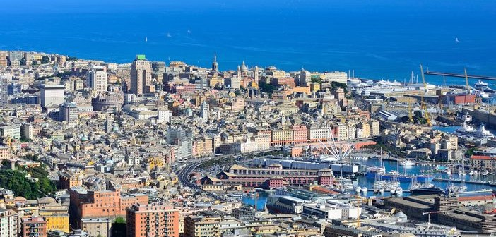 Port of Genoa, a Mediterranean city in Italy