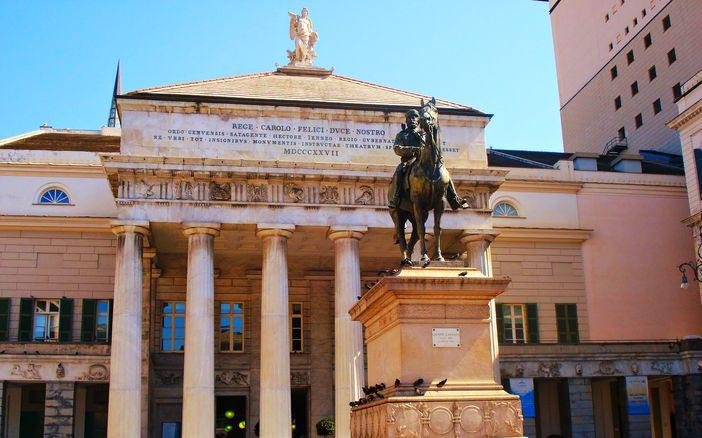 Garibaldi statue at Piazza de Ferrari in Genoa, Italy