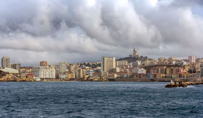 View of Marseille from Mediterranean Sea