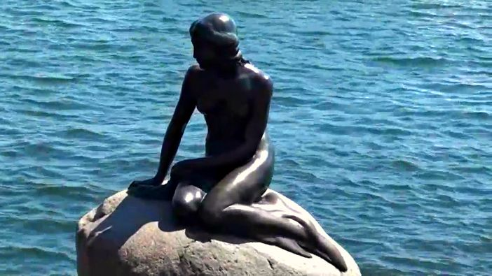 Little Mermaid statue on a rock