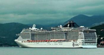 MSC cruise ship leaving Dubrovnik