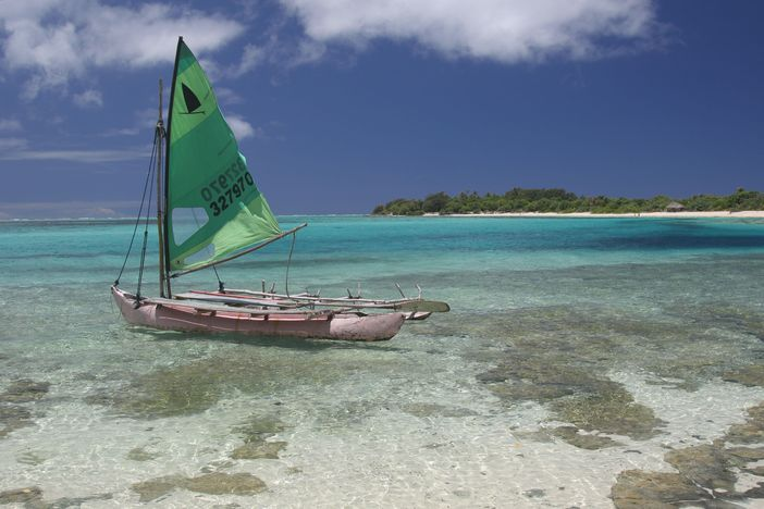 Small sailboat at Mystery Island, Vanuatu