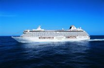 Crystal Serenity cruise ship sailing at the sea