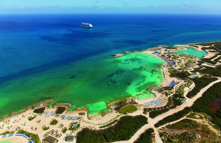 Aerial view of Norwegian Cruise Line Private Island, the Great Stirrup Cay