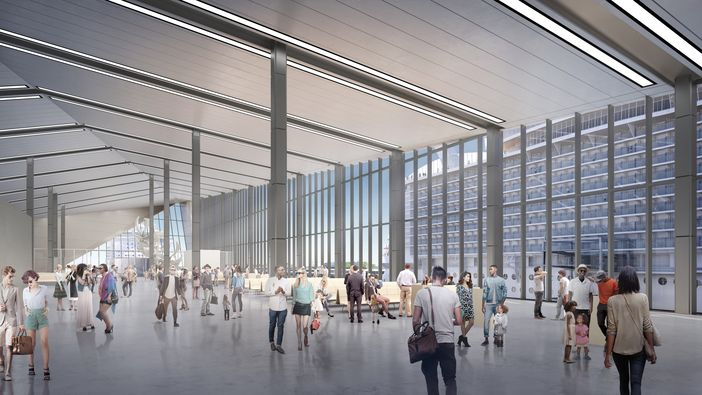 Inside design of the New Royal Caribbean terminal in Miami