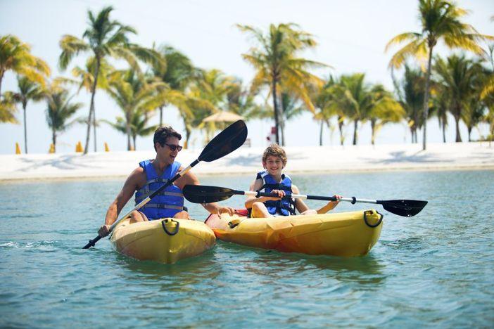 Kayaking at Harvest Caye, Belize
