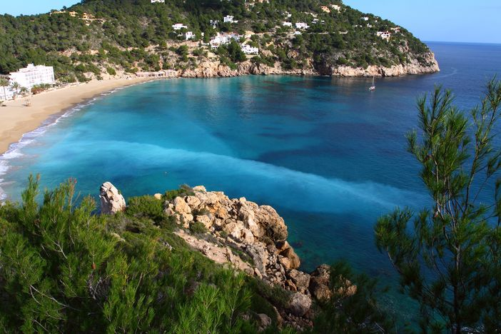 Ibiza bay with beautiful beach