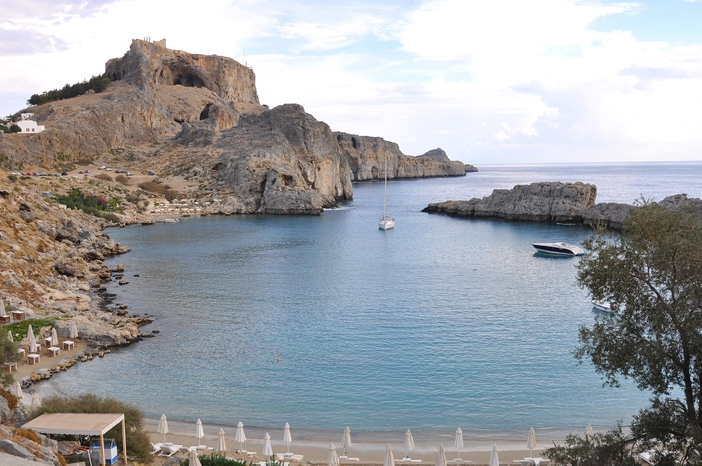 Lindos Bay at Rhodes Island, Greece