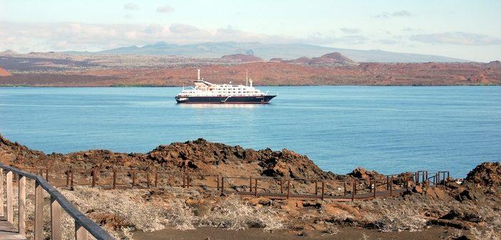 Cruise ship anchored at Suééivan Bay, Bartolomeo Island, Galapagos.