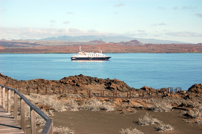 Cruise ship anchored at Suééivan Bay, Bartolomeo Island, Galapagos.