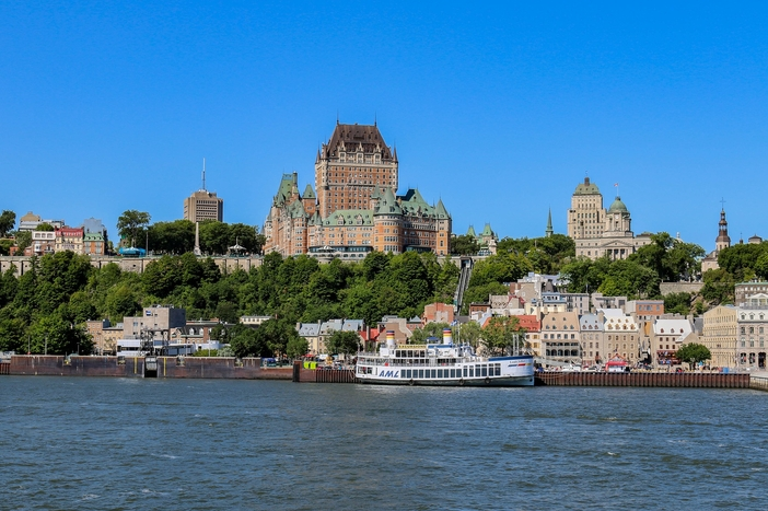 Canada & New England cruise ports: Frontenac Castle in Old Quebec City