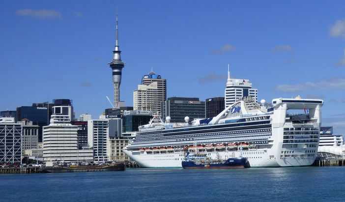 Cruise ship and downtown, Auckland