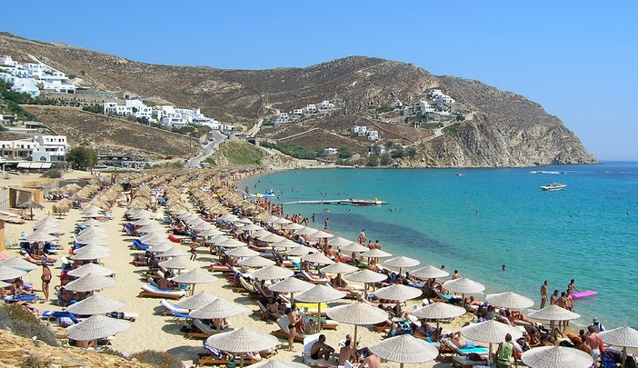 Popular Elias Beach in Mykonos
