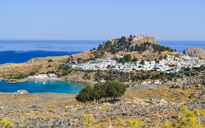 View of Lindos village and the Acropilis