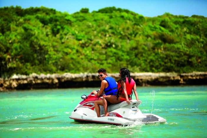 Riding on a waverunner at Great Stirrup Cay