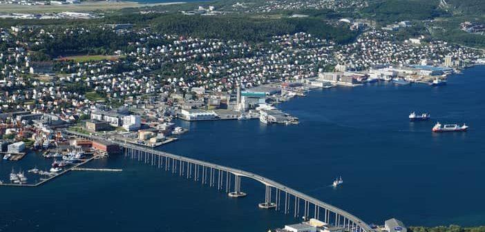 Tromso Bridge aerial view